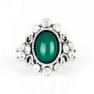 Noticeably Notable Green White Crystal Silver Ring